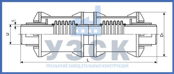 Чертёж компенсатора сильфонного 2КСО в Екатеринбурге