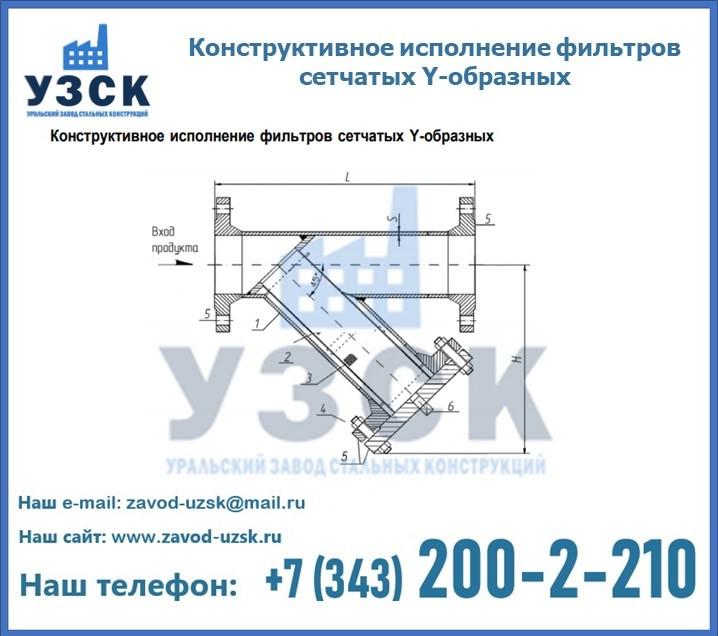 Конструктивное исполнение сетчатых Y-образных фильтров в Екатеринбурге