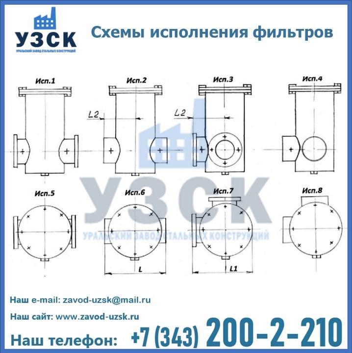 Схемы исполнения фильтров ФГ в Екатеринбурге