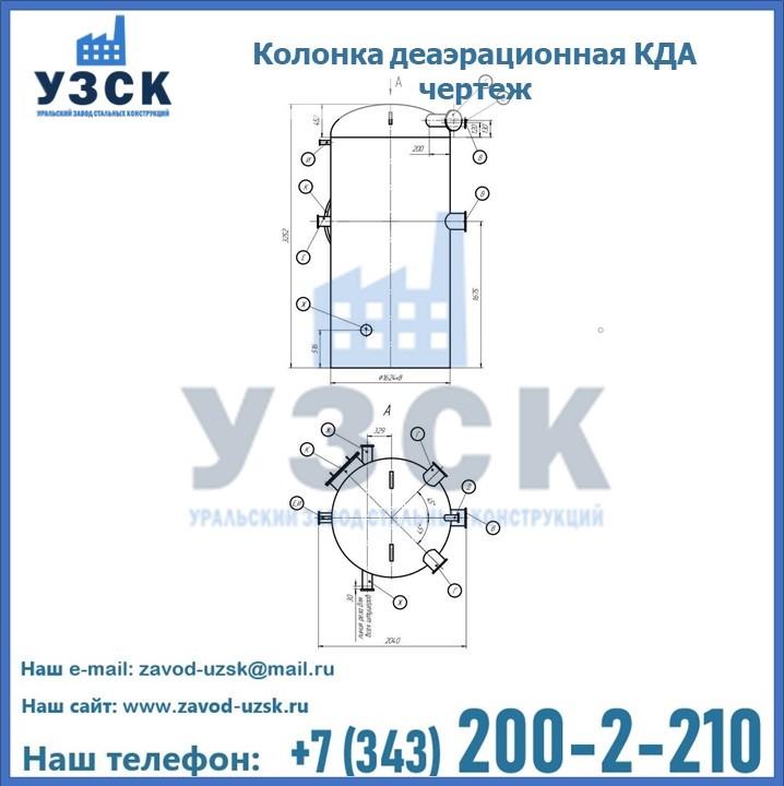 Колонки КДА деаэрационные чертеж в Екатеринбурге